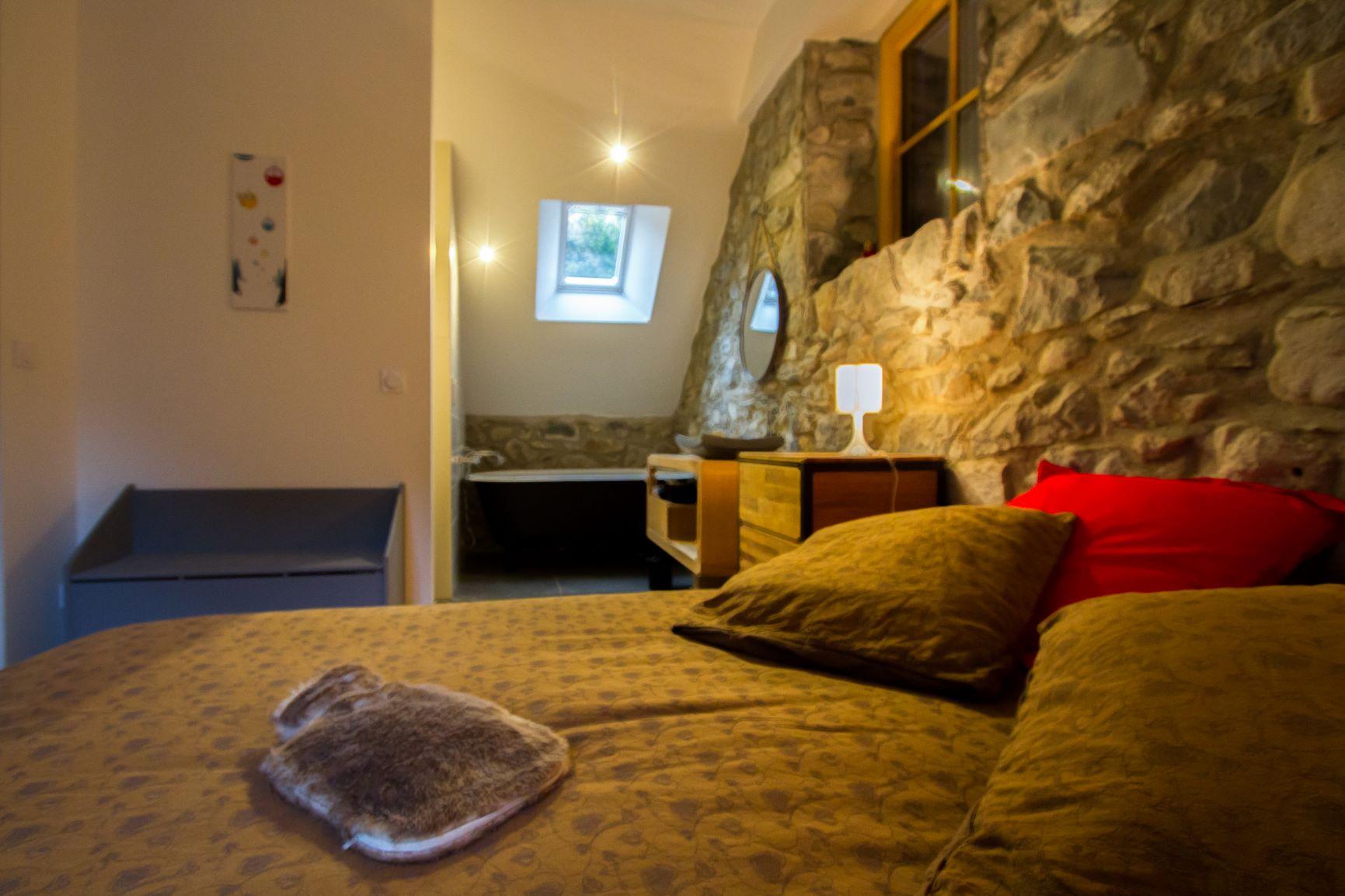 chambre avec douche et baignoire et pierres apparentes