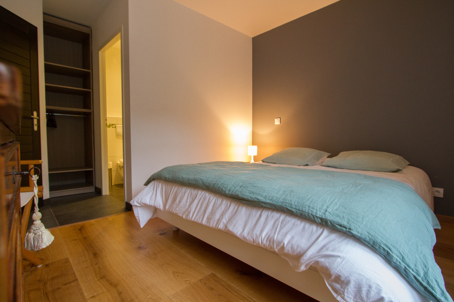 chambre avec lit 160cm penderie et salle d'eau complète (douche,lavabo,wc)
